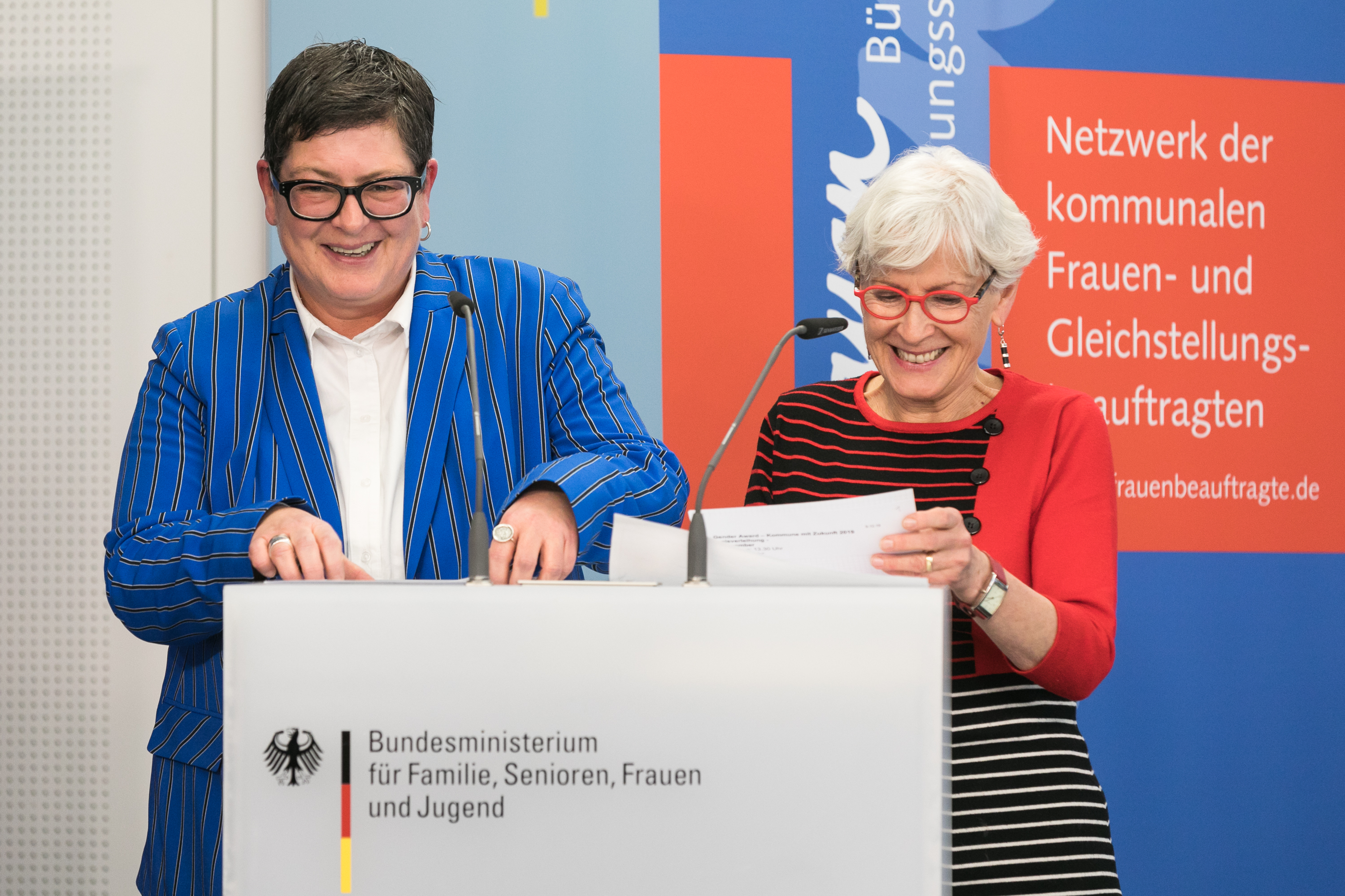 006 Gender Award 2019 Roswitha Bocklage und Heike Gerstenberger BAG Bundessprecherinnen