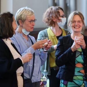 29.08.2021 Empfang aus Flensburg Alina Saak, Inge Trame, Sandra Beck, Verena Balve